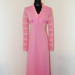 Vtg 60s Pink Dress with Long peep hole sleeves